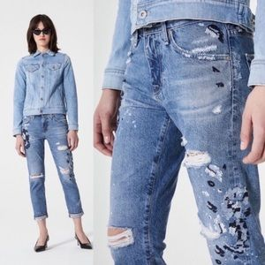 AG Ex-Boyfriend Embroidered Distressed Jeans
